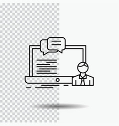 training course online computer chat line icon on vector image