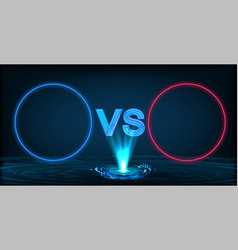 versus screen with neon circle frames vs letters vector image