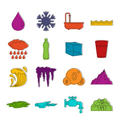 water icons doodle set vector image