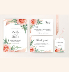 wedding invite rsvp card floral blush peach color vector image