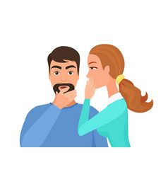 woman whispering gossip or secret rumors to man vector image