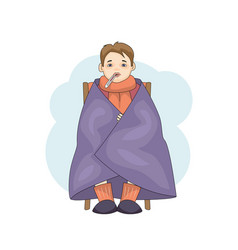 young male character cartoon cold isolated on vector image