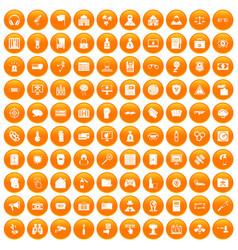 100 hacking icons set orange vector