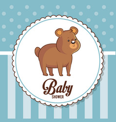 baby shower card invitation cute bear vector image