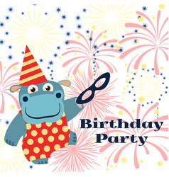 birthday party background with cartoon hippo with vector image vector image
