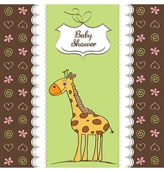 new baby announcement card with giraffe vector image vector image