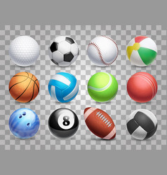 realistic sports balls big set isolated on vector image vector image