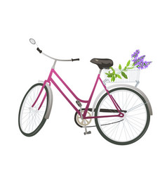 bicycle with flowers in basket vector image vector image