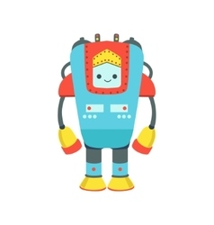 Blue and red giant friendly android robot vector