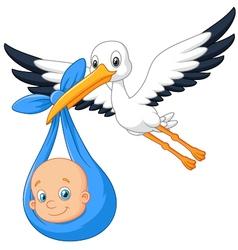 Cartoon bird Stork with baby vector image vector image
