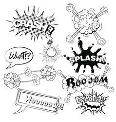 Comic speech bubbles sound effects cloud explosio vector image