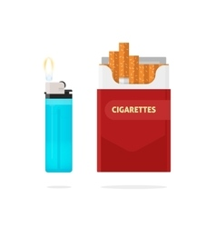 Cigarettes pack box and lighter with fire vector image vector image