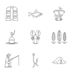 Fishing sport icons set outline style vector image