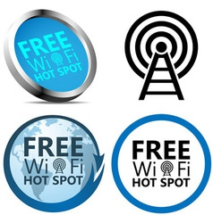 Free Wi-Fi Internet access signs vector image vector image