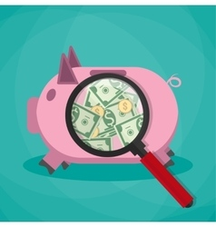 magnifier on a pink piggy bank and see money cash vector image