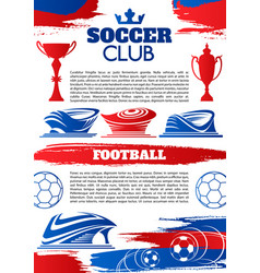 soccer sport game banner of football club template vector image vector image
