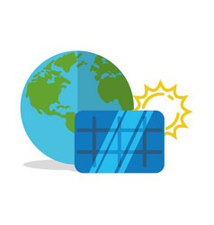 solar panel world globe vector image