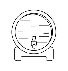 wine barrel faucet wooden thin line vector image vector image