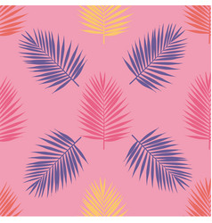 bright tropical palm leaves seamless pattern vector image