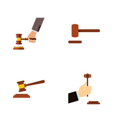 flat icon hammer set of law crime defense and vector image