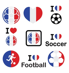 I love French football soccer icons set vector image vector image