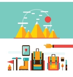 Mountain hiking and climbing Camping Travel vector image