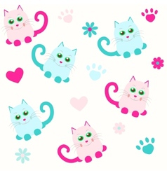 seamless background with cats and heart vector image