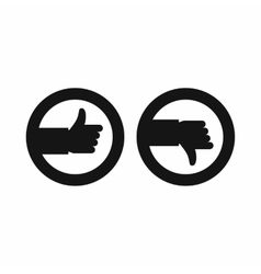 Signs hand up and down icon simple style vector