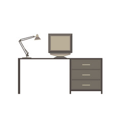 table desk office wood background computer view vector image