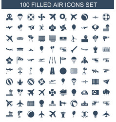 100 air icons vector