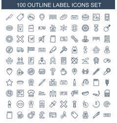 100 label icons vector
