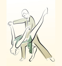 Abstract of dancing couple made in line vector