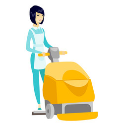 asian worker cleaning store floor with machine vector image