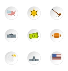 Attractions of USA icons set flat style vector image