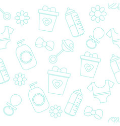 background with baby care symbols pattern with vector image