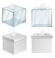Ballot box democracy mockup set realistic style vector