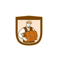 Bartender Carrying Keg Shield Retro vector
