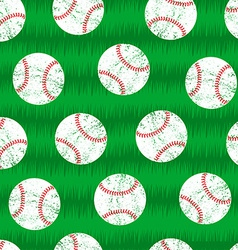 Baseballs on grass seamless pattern vector image