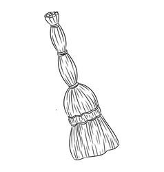 Besom organic broom sketch doodle hand drawn image vector