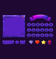 Big set cartoon neon purple stone assets and vector