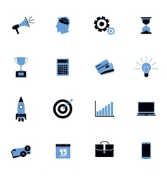 Black and blue business icons flat set vector