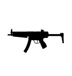 black silhouette machinegun on white background vector image