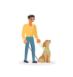 blind person with guide dog and walking stick vector image
