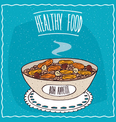 Bowl of oatmeal with dried apricots and hazelnuts vector