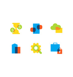 business and finance - flat design style icons set vector image