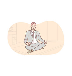 business rest meditation yoga relaxation vector image
