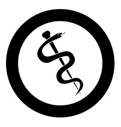 Caduceus or staff of asclepius symbol icon black vector