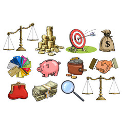 Cartoon business set scales stack coins sack vector