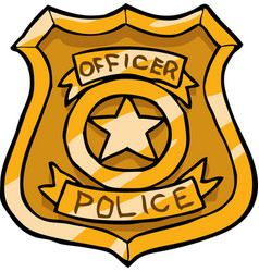 cartoon doodle police badge vector image