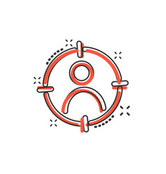 cartoon target audience icon in comic style vector image